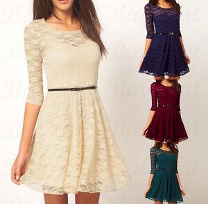 Spitze-Kleid-Spitzenkleid-Minikleid-Abendkleid-Tunika-Cocktailkleid-Guertel-CTB47