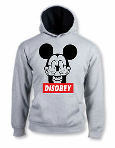 a88aa1db951 Details about FELPA HOODIE DISOBEY MICKEY MOUSE TOPOLINO FUCK YOU FUNNY  COOL HOT CON CAPPUCCIO