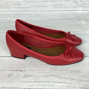 BNWT M\u0026S Red Leather Bow Ballet Pumps
