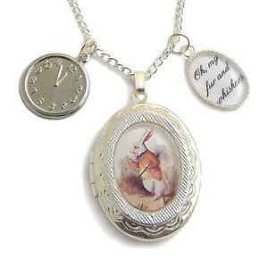Alice-in-Wonderland-necklace-locket-The-White-Rabbit-charm-silver-fairytale