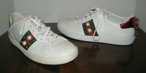 af35191127d GUCCI NEW ACE LOW TOP SNEAKER WHITE  RED WOMEN S SIZE 8.5US  38.5EU ...