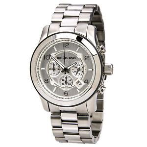 Image is loading Michael-Kors-MK8086-Oversized-Silver-Runway-Watch 8ccfb3b72b