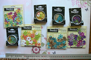32-Glittered-Florettes-DAZZLERS-4-Different-Colours-15-25mm-Petaloo-Multi-List