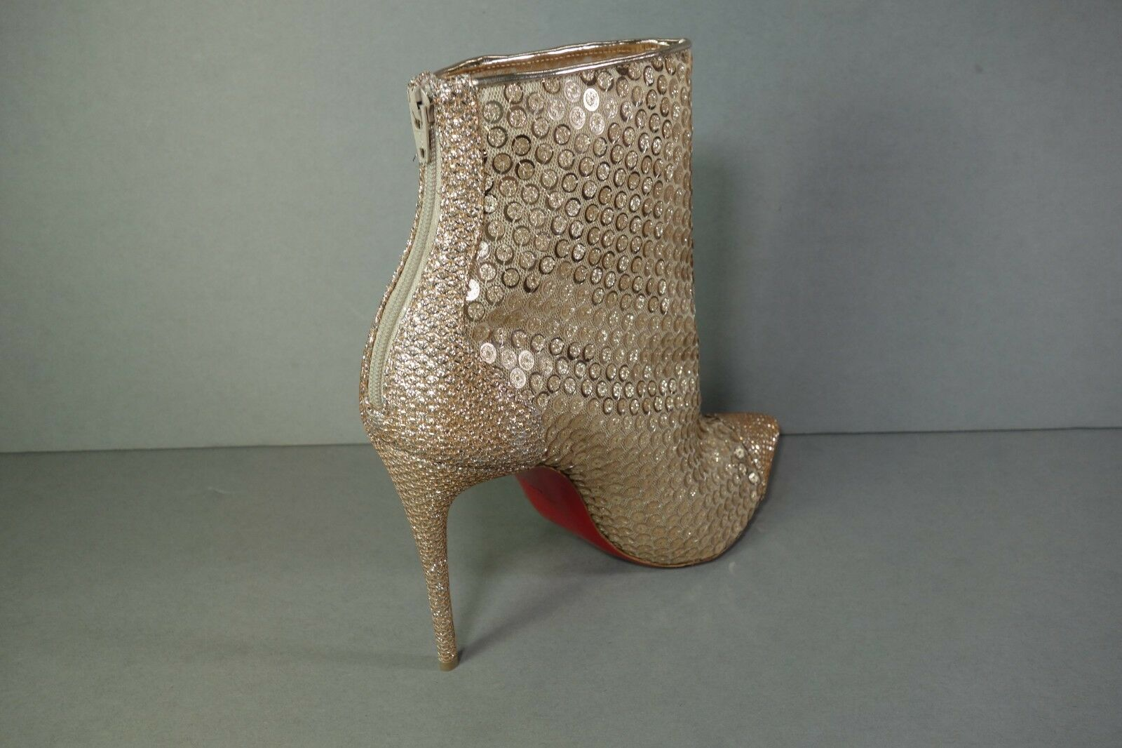 Louboutin 40.5 10 GipsyStiefelie SPC100 SPC100 SPC100 Gold Sequins Mesh ankle Stiefel Stiefelies New 8e56bc