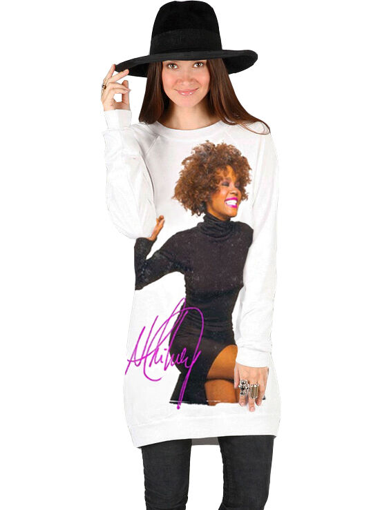 Whitney Houston Organic Cotton Sweatshirt tröja Dress Made in USA S, M, L, XL