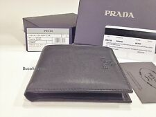 Men's 'PRADA' 2M0738 Nero-Italian Deerskin Leather Wallet with Coin compartment.