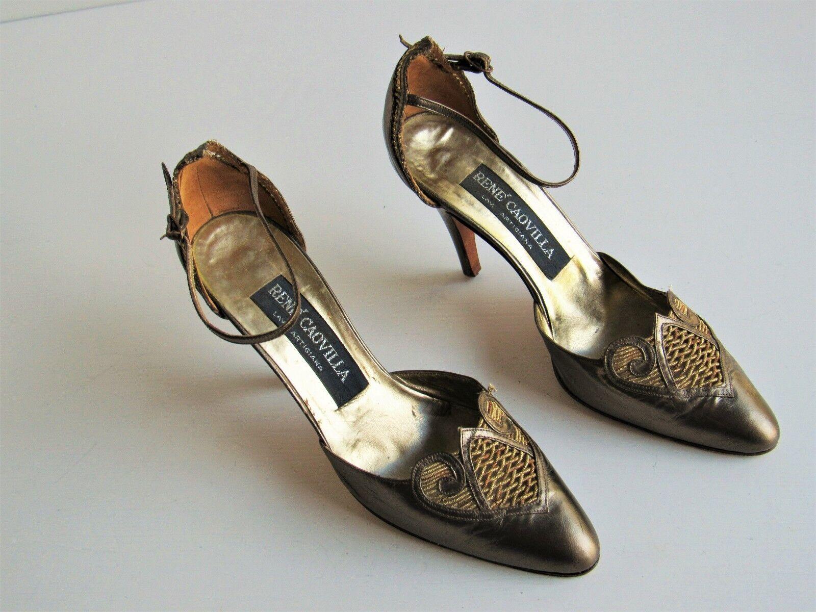 prezzi equi Rene Caovilla Caovilla Caovilla Bronze Leather oro Accent Ankle-Strap High Heels US 7.5 EU 38  solo per te