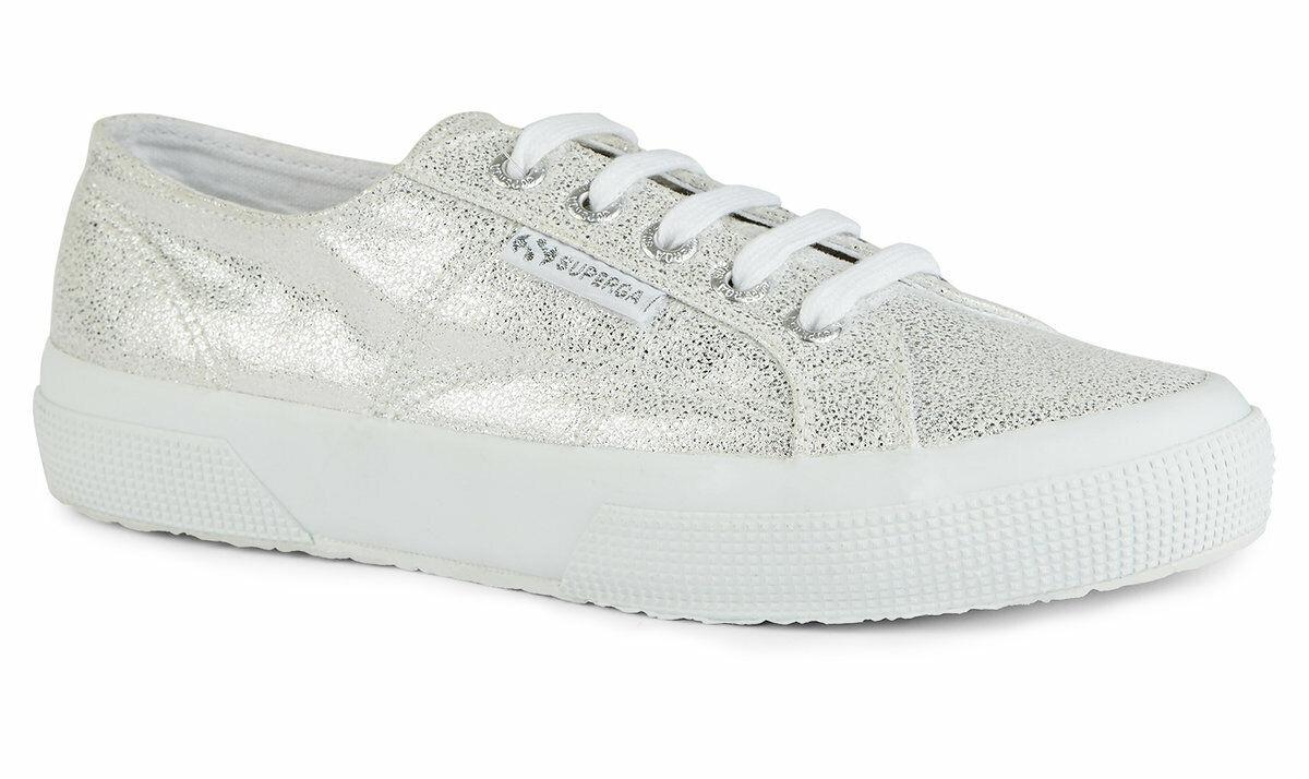 Superga 2750 Escarchado (blancoo Plateado) Zapato   oficiales del Reino Unido Superga Distribuidor