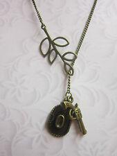 Cowboy hat gun leaf antique bronze charm pendant  vintage  Necklace western