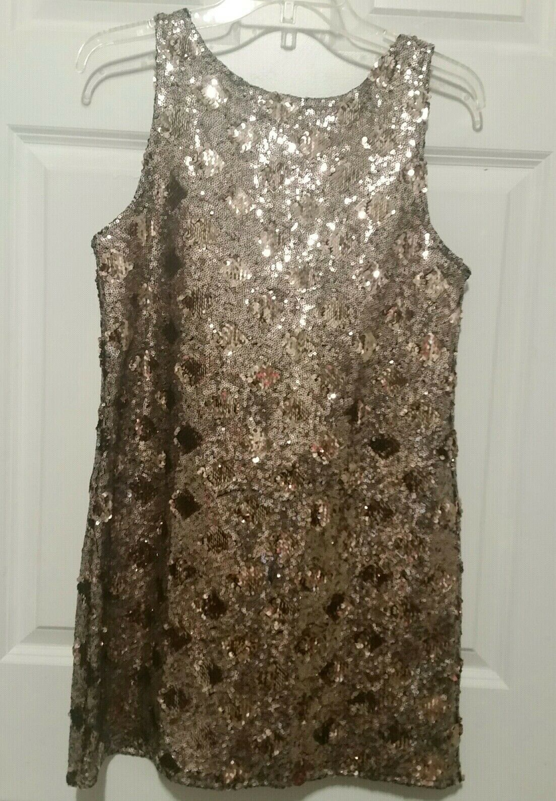 ZARA gold Diamond Sequin Shift Sleeveless Mini Dress Size M