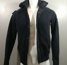 HOLLISTER Men's Jacket Sz M, Coat Fur Hoodie Zip Up Navy Blue Cali Cotton Blend