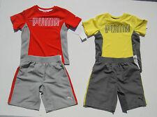 PUMA NWT Boys 2PC Set Top Shirt Shorts 100/% Polyester 4 4T Red Gray Yellow
