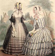 LE FOLLET 1845 Hand-Colored Fashion Plate #1265 Striped Dresses ORIGINAL PRINT