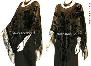 Black-Silk-Burnout-Velvet-Poncho-Shawl-Fringe-Top-Maya-Matazaro-One-Size
