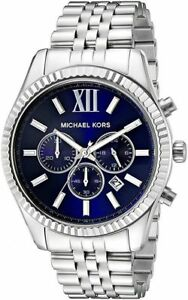 Michael-Kors-MK8280-Lexington-Chronograph-Navy-Dial-Silver-Tone-Men-039-s-WristWatch