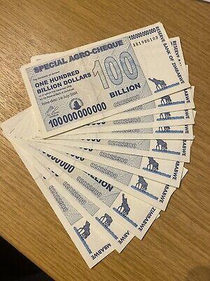 ZIMBABWE BUNDLE 100 X 5 BILLION USED BANKNOTE BUNDLE TRILLIONS PACK XF