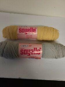 Lot-of-2-Vintage-Caron-Sayelle-Yarn-Skeins-NEW-Gray-amp-Gold