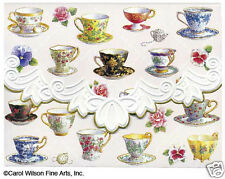Carol Wilson 10 Blank Note Card Lace Borders Stationery Tea Cups Flowers New