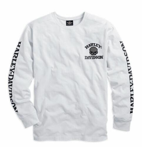 M Harley-Davidson Men/'s Skull Long Sleeve Tee White Gr Weiß Herren Shirt