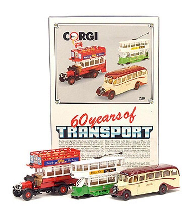 Corgi C89 60 años de transporte Bus Thornycroft entrenador Conjunto de modelo de tranvía Bedford