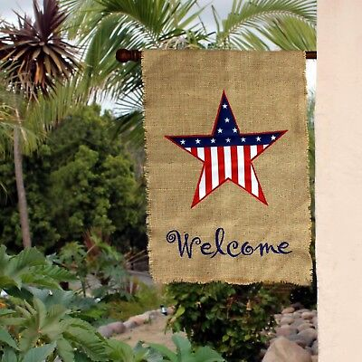 Large Patriotic Burlap Welcome Garden Flag 28 X 40 Stars And Stripes Usa Ebay