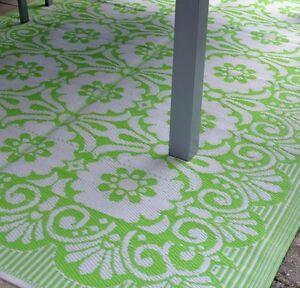 Teppich grün weiß  XL Outdoor Teppich Läufer Kunststoff mit tollem Muster grün/weiß ...