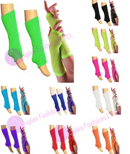 New Girls Teen 80/'s Dance Wear Plain LegWarmer Fishnet Gloves Tutu Legwarmer Set