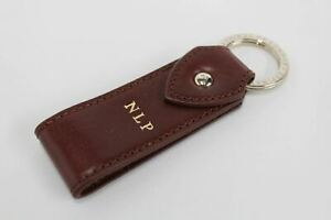 ASPINAL-OF-LONDON-Leather-Walnut-Brown-Initials-NLP-Gold-Accent-Keyring-Fob-NEW