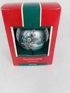 Vintage-Hallmark-Keepsake-Christmas-Ornament-Granddaughter-1989-Glass-Ball-IOB
