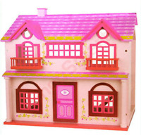 QUALITY WOODEN PINK DOLL DOLLS HOUSE + 20PC FREE FUNKY FURNITURE GIRLS TOY FUN
