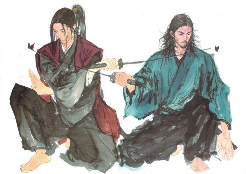 MIYAMOTO MUSASHI ET KOJIRO SASAKI. STICKER AUTOCOLLANT POSTER A4 MANGA VAGABOND