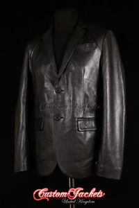 Men-039-s-MILANO-Black-Cowhide-Italian-2-Button-Fitted-Leather-Jacket-Blazer-Coat