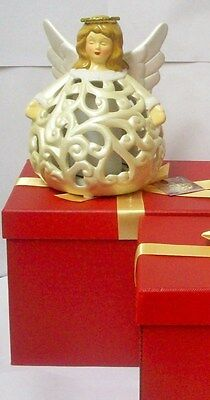 """QVC Home Reflections 14/"""" Porcelain Luminary Angel w Flameless Candle and Timer"""