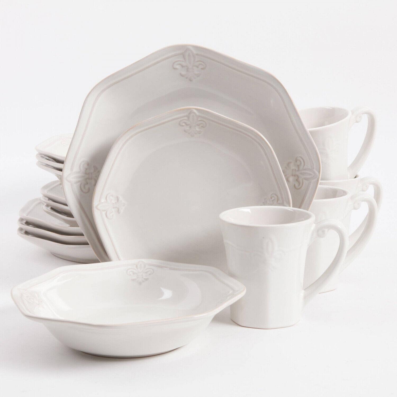 Dinnerware Set 16 Piece White Stoneware Dishes Dinner Plates Microwave Safe