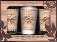 Tuscan Hills 3 Piece Vanilla Almond Body Care Collection Gift Set Scent Travel