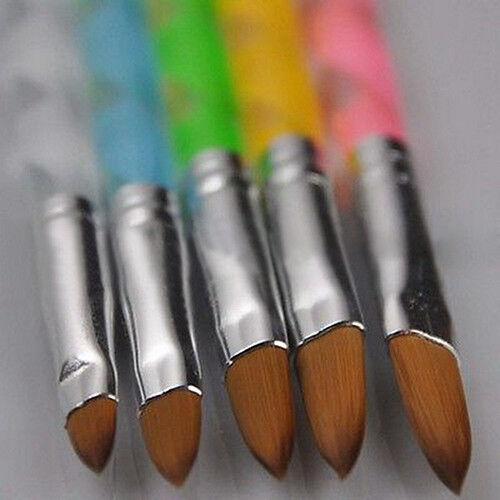 GX- 5Pcs New Acrylic 3D Painting Drawing UV Gel DIY Brush Pen Tool Nail Art Set