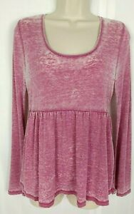 Altar-039-d-State-Top-Size-S-Pink-Burnout-Empire-Waist-Peasant-Open-Back