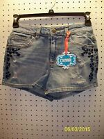 L'amour Jr Denim Jean Shorts Embroidered Floral Trim High Waist Free Shpg Nwta