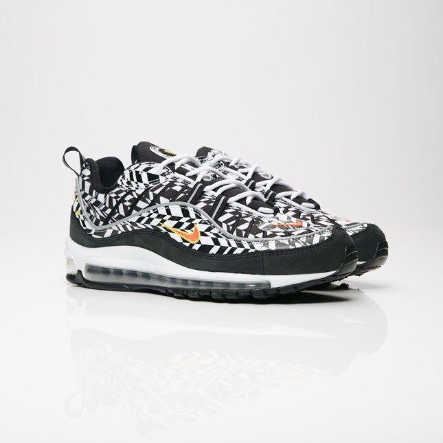 Nike Air Max 98 AOP All Over Print Fractal Fractal Fractal nero Airmax AQ4130-100 Uomo scarpe f65b76