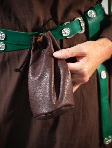 LARP-Pagan-Reenactment-Medieval-SCA Brown Leather DRAWSTRING Money-Dice Bag