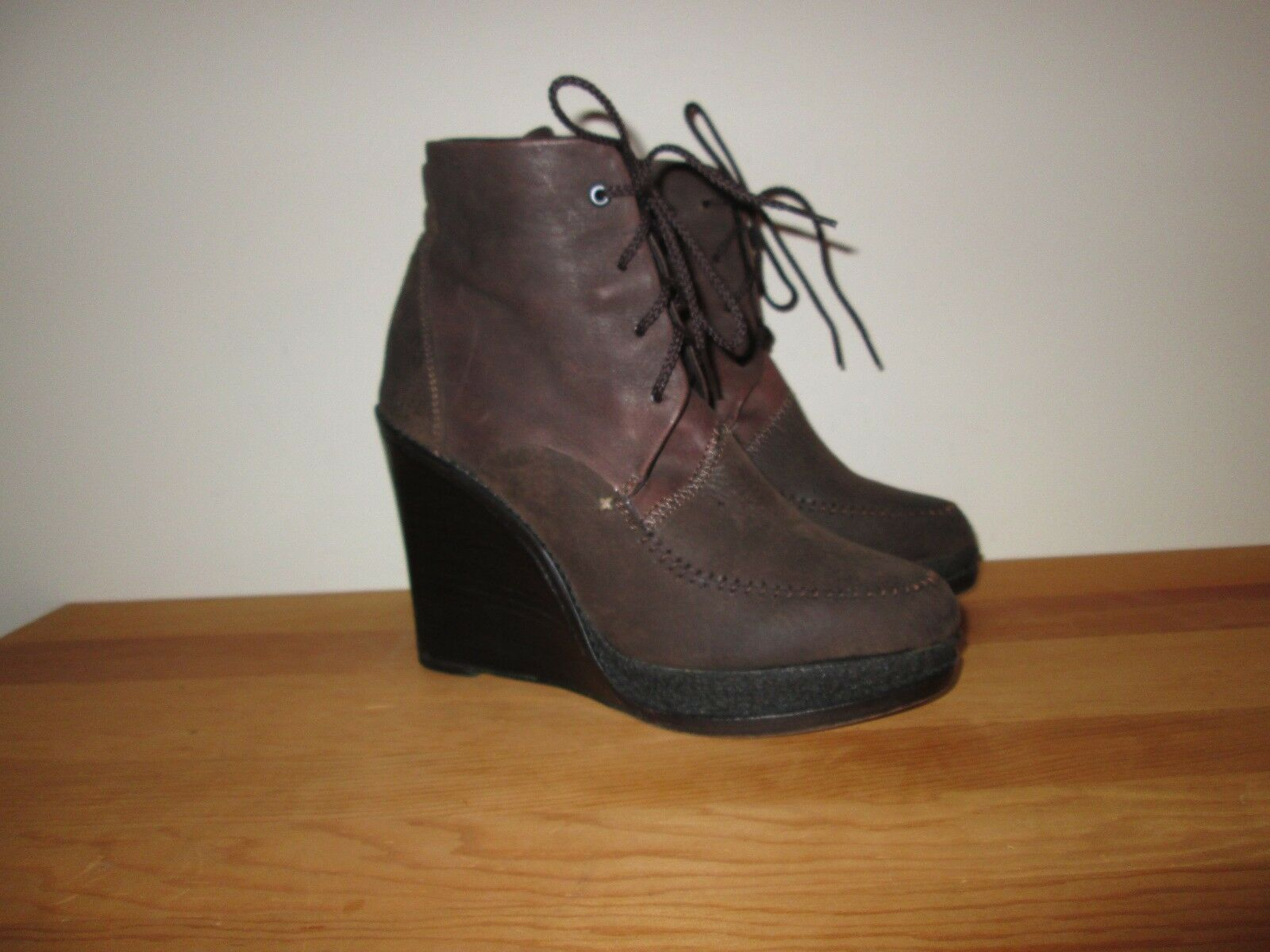 RAG & BONE Dolgan Brown Leather Lace-Up Wedge Booties Ankle Boots  Sz 38