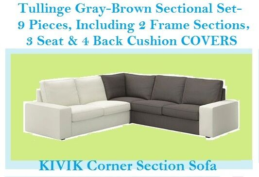 Ikea Kivik Sectional Corner Sofa Section Cover Tullinge Gray Brown Slipcover Ebay