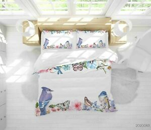 3D Hand Drawn Floral Leaf Bird Quilt Cover Sets Pillowcases Duvet Comforter 46