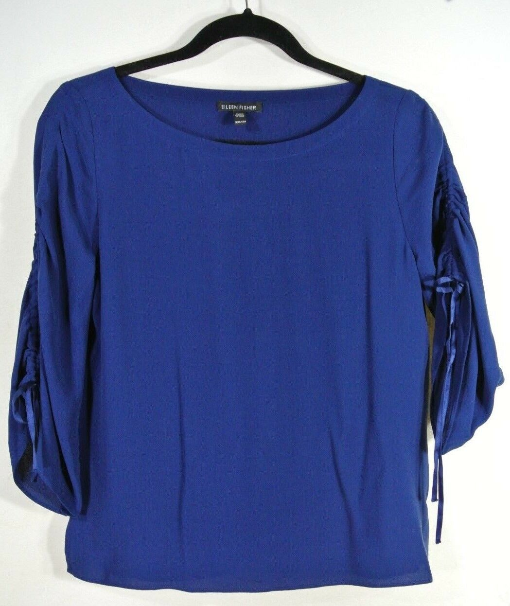 NEW  Eileen Fisher Ruched Sleeve Ballet Neck Silk Top in Navy - Größe XXS  T324