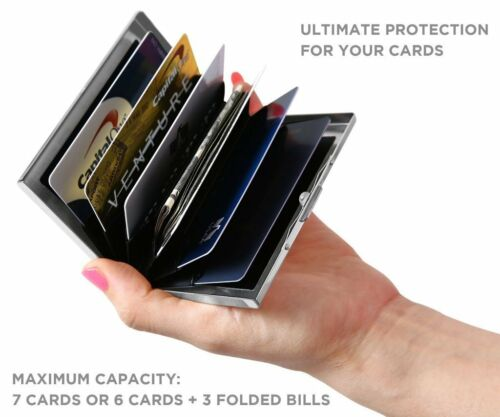 RFID Blocking Credit Card Holder Case Wallet Stainless Steel Protector Six Slots