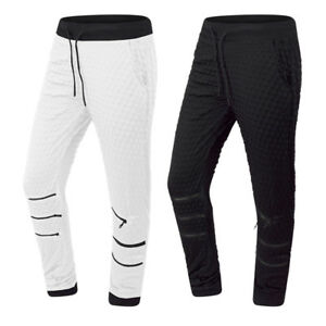 NEW-Men-Joggers-Pants-Quilted-Zippers-Elastic-Waist-Black-White-Sizes-S-XL