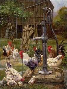 Ceramic-Tile-Mural-Backsplash-Mirkovich-Rooster-Chickens-Country-Life-Art-NMA067