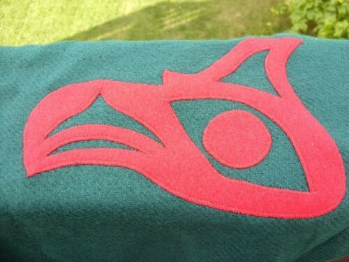 VERY NICE NORTHWEST COAST THUNDERBIRD SCARF GREEN 54X12 GREEN RED THUNDERBIRD