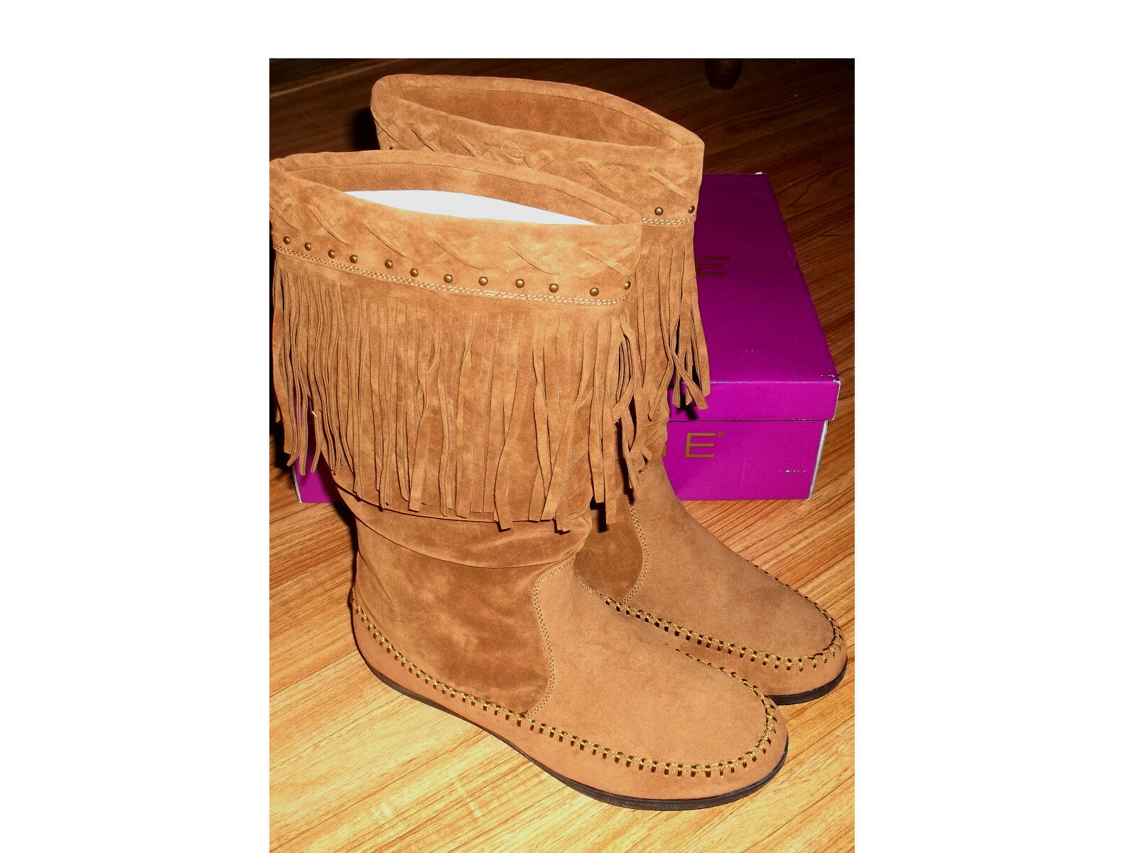 NWB Brown RAMPAGE CITRINE Midcalf Boots With Fringe Sz 8.5M  FREE SHIPPING