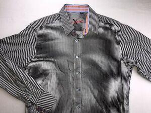 ROBERT-GRAHAM-X-LONG-SLEEVE-BUTTON-DOWN-DRESS-SHIRT-MEDIUM-BLACK-WHITE-STRIPED